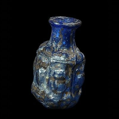 Aphrodite- Ancient Sidonian Hexagonal Blue Glass Bottle, Type Series A