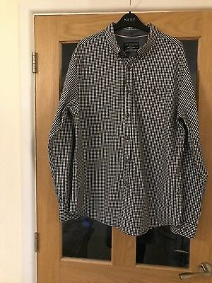 Red Herring Mens Navy And White Check , Long Sleeved Check Shirt Chest Size 42