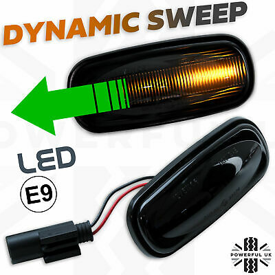 Dynamic Audi style sweep LED Side Repeater Indicator Smoked light fits Defender