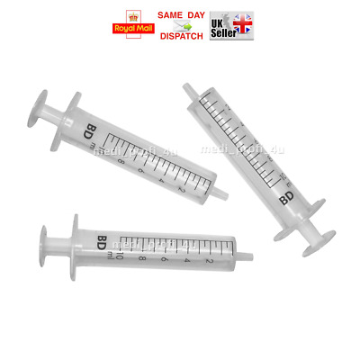 20x - 10ml BD Syringes Sterile Cycle Injection Refill Ink Fast & Free UK P&P
