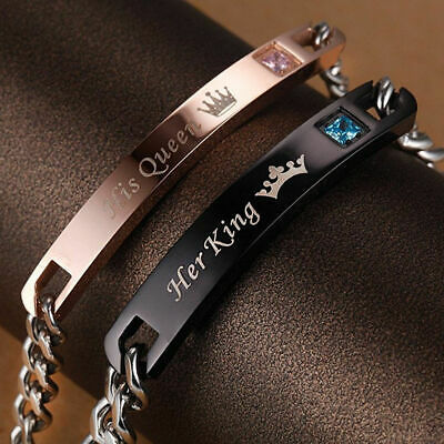 "His And Her ""Her King His Queen"" Alloy Fashion Couple Lover Bracelet Women' JEW"