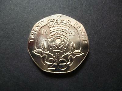 1997 BRILLIANT UNCIRCULATED TWENTY PENCE PIECE. 1997 20p coin uncirculated.