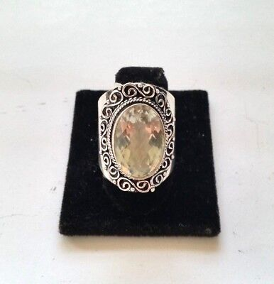 .925 Silver Plated Citrine Quartz  Ring Size 10