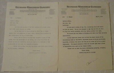 2 ea. Antique Letterheads, Heywood-Wakefield Company, Furniture, Baltimore 1928