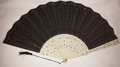 Handheld Fan pierced and carved sticks and guards  c1900s