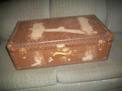 Vtg Distressed Wooden Metal Bound Suitcase/trunk Paper Covered~Stage Prop