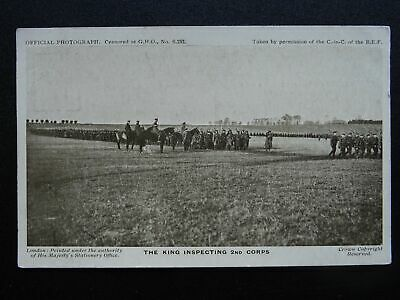 WW1 Official Photograph THE KINGS INSPECTING 2nd Corps - Old RP Postcard