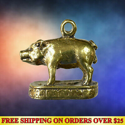 Lucky Miniature Pig Hunting Money Brass Thai Amulet Pendant Wealth Talisman Holy