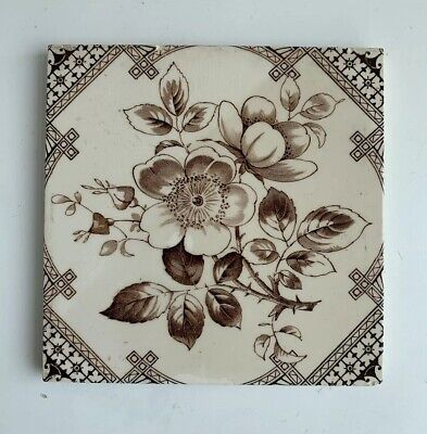"Vintage Antique Ceramic Tile - Hawthorn Flower Decorative 6x6"" (1)"