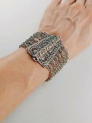 antique silver early 20th egyptian ottoman filigree bracelet marked