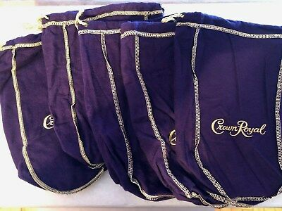 "Lot Of Five Medium Purple Crown Royal Bags 9.5"" Gold Stitch and Gold Drawstring"