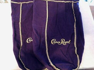 "Two Large Purple Crown Royal Bags 12.5"" Gold Stitch and Gold Drawstring"