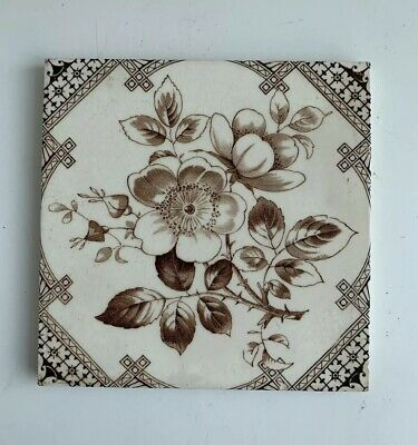 "Vintage Antique Ceramic Tile - Hawthorn Flower Decorative 6x6"" (2)"