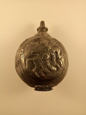 Antique Pewter Flask Balkan Ottoman Era St George