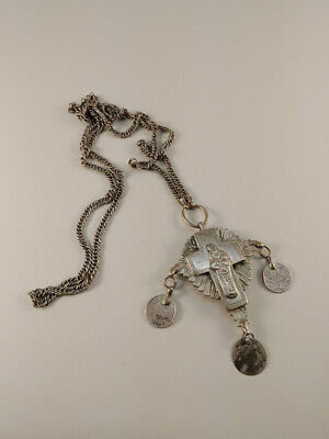 Antique Silver Balkan Greek Ottoman Cross Pendant C.1900
