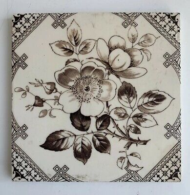 "Vintage Antique Ceramic Tile - Hawthorn Flower Decorative 6x6"" (3)"