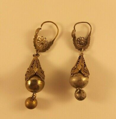 antique silver filigree fire gilt earrings greek ottoman 19th RARE