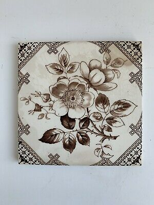 "Vintage Antique Ceramic Tile - Hawthorn Flower Decorative 6x6"" (4)"