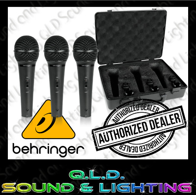 Behringer Ultravoice XM1800S 3 Pack of Dynamic Microphones with Case and Clips