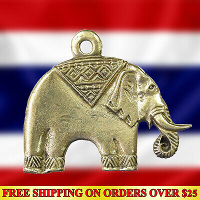 Thai Amulet Pendant Brass Lucky Elephant Hunting Money Powerful Wealth Talisman