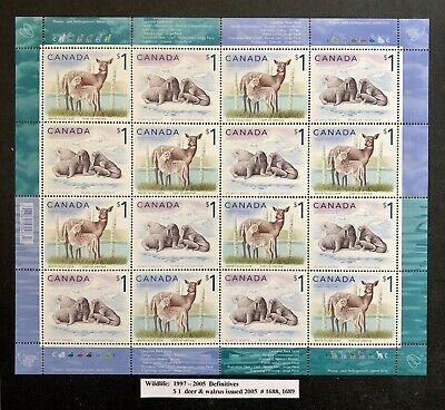 Canada Stamp Sheet 2005, #1688/1689 c/w Bar Code *$1.00 WILDLIFE DEFINITIVE* MNH