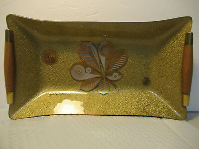Vintage Georges Briard Glass Nut Candy Party Tray Mid Century W/ Wood Handles
