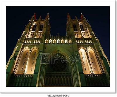 The National Cathedral At Night, In Art Print Home Decor Wall Art Poster - D