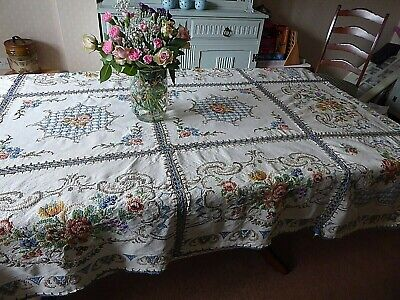 Vintage Hand Embroidered & Cross Stitch Tablecloth/bedcover- Stunning Embroidery