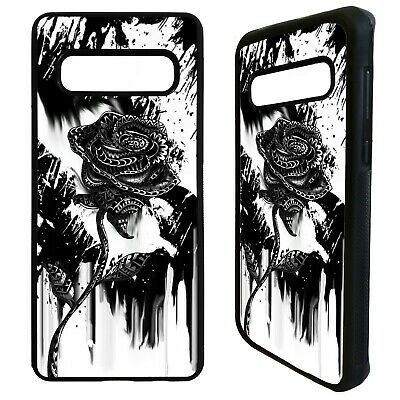 Black rose flower tattoo ink pattern case cover for Samsung Galaxy S10 S10e plus