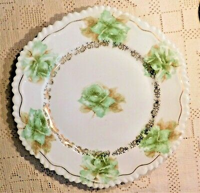 VINTAGE EARLY 20th CENTURY HAND PAINTED FLORAL SERVING DISH W/ GOLD ACCENTS