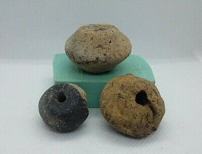 lot of 3 Superb Ancient Spindle Whorl Ceramic Bead Viking period 9-13 AD #6