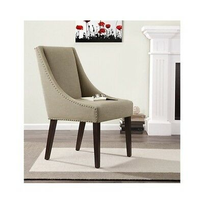 Dining Chair Dinette Room Furniture Upholstered Wood Legs Accent Nail Head Linen