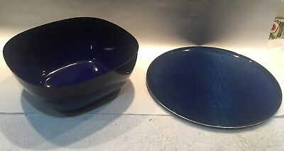 Vintage Cathrineholm Enamel Blue Square Serving Bowl & Round Tray mid century