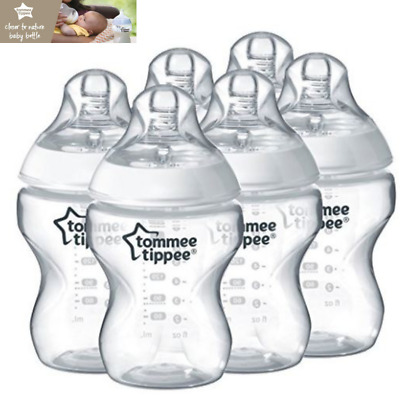 Baby Feeding Bottles Clear Closer To Nature Tommee Tippee 6 Pack Set 260ml 0m+