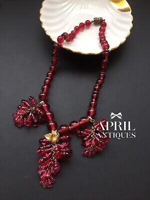 Vintage French Art Deco Red Poured Glass Drops Beaded necklace