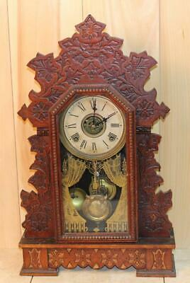 Antique Gilbert 'Geranium' 8 Day Oak Parlor Clock ~ Time, Strike & Alarm ~