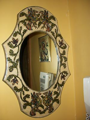 Vintage Hand Painted & Crafted MIRROR from Greece Etched Wood Designer Greek Art