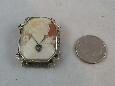 14k WHITW GOLD VTG. SQUARE  CARVED SHELL CAMEO WITH A DIAMOND NECKLACE  PIN/PEND