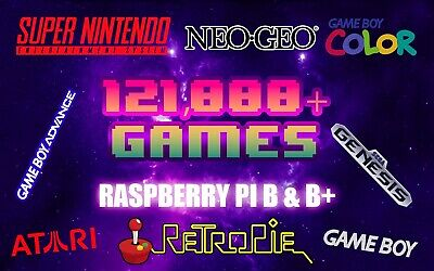 123,000 games for Raspberry Pi  -No duplicates! 64GB RetroPie 4.4 SD card!