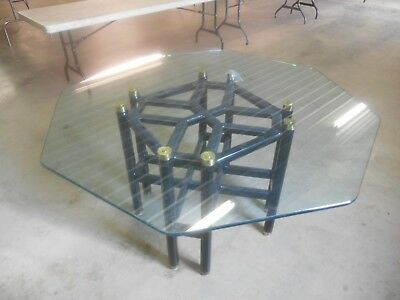 Vintage Mid-Century Modern Geometric Octagon Glass & Wood Pedestal Dining Table