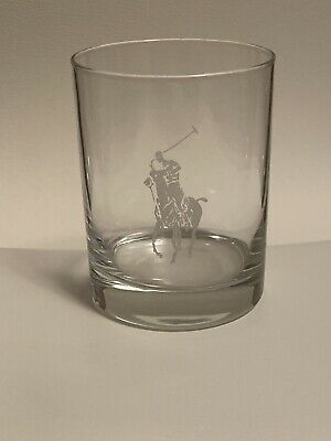 Set 4 Ralph Lauren Polo Player Pony Tumblers Double Old Fashioned Rocks Glasses