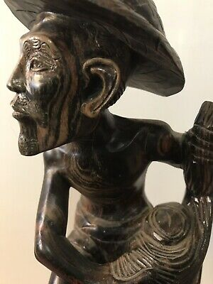 Vintage Asian Wood  Hand Carved Statue of Fisherman - Tall  32cm