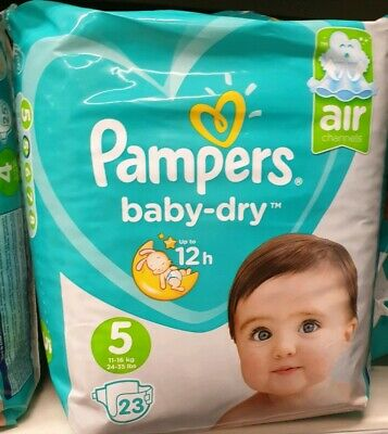Pampers Baby Dry Nappies Size 4 (11-16Kg ) Premium Protection  23 Nappies Packx1
