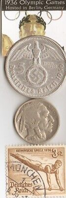 -1936- *german Olympic stamp and 1936 5 mk SILVER(.900%,.29 mm,.4016 oz) coin