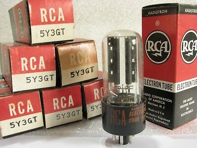One RCA 5Y3GT Rectifier Tube (Orange-Red Labeling, New Old Stock / New In Box)