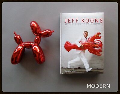 Jeff Koons Conversations Book + Pop Art Balloon Dog Figure Set : Red