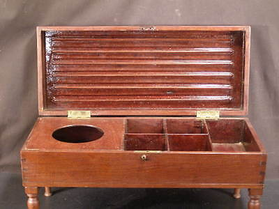 19c Dovetailed Walnut Wood Turned Leg Dresser Jewelry Candle Document Collar Box