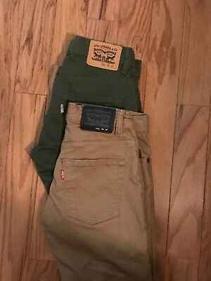 boys Levi 511 suede slim fit jeans. Size 12 beige and olive