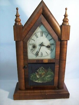 Antique Waterbury Clock Co. Steeple Mantel Clock with Chimes Fox Design