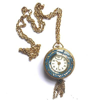 Vendome  Lucerne Swiss Made Gold Pearl Watch Pendant Necklace